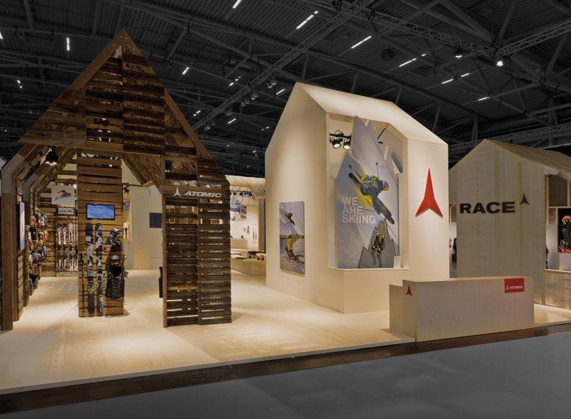 atelier 522 trade fair booth design atomic ISPO 2012 wood houses cottage