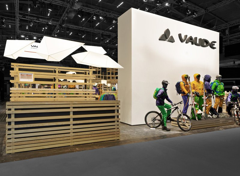 atelier 522 Vaude ISPO 2012 trade fair booth design wood sustainability outdoor